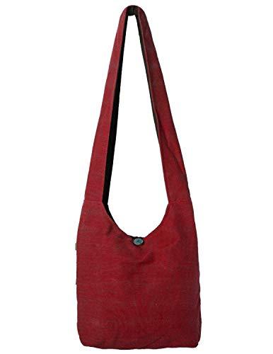 Vishes - Stoff Shopper Stofftasche Einkaufstasche Umhängetasche große Beuteltasche Schultertasche - Damen Herren dunkelrot