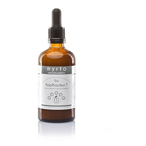 myrto – Bio Kopfhautkur T - Serum gegen juckende Kopfhaut und trockene Schuppen | ohne Duftstoffe -ohne Konservierungsstoffe -ohne Alkohol - vegan -Braunglas -100 ml