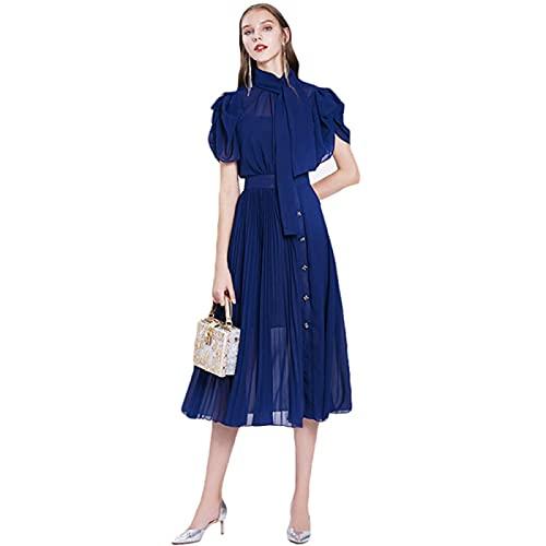 QUNLIANYI Vestido de Fiesta Elegante para Mujer, Cuello Alto de Verano, Vestidos Largos Plisados de Gasa a Media Pierna, M Azul Marino
