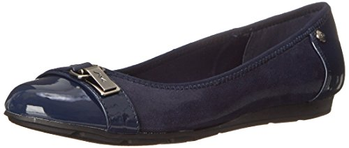 Anne Klein Sport Women's Able Fabric Ballet Flat, Navy, 10.5 M US