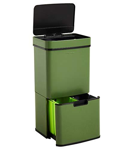 Homra Nexo Verde - Cubo de basura y reciclaje grande con sensor de 3 + 1 compartimentos ( 82,5 x 42 x 31,5 cm) metalico en acero inoxidable, 72 litros