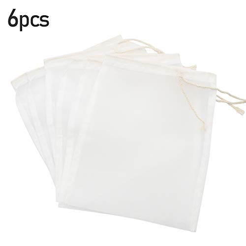 Baven 6 Stück Aquarium Filterbeutel 145 Micron Media Mesh Filterbeutel mit Kordelzug für Aquarienbälle, Aktivkohle, Pelletkohle, Weiß