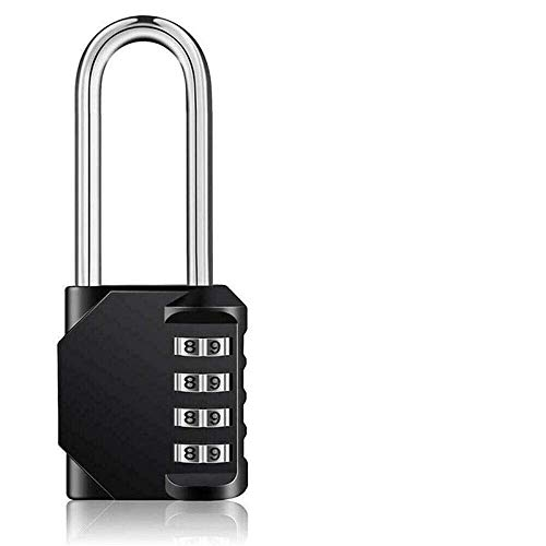Long Padlock High Security 4 Digit Pad Lock Outdoor Travel Padlock Password Lock for Luggage Suitcase Digit Lock-_Black