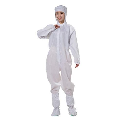 PRETYZOOM Schutzanzug Staubdichte Arbeitskleidung Antistatischer Kapuzenanzug für Krankenhauschirurgie Laborindustrie Laborsicherheitskleidung ohne Schuhe (Weiß Größe XL)