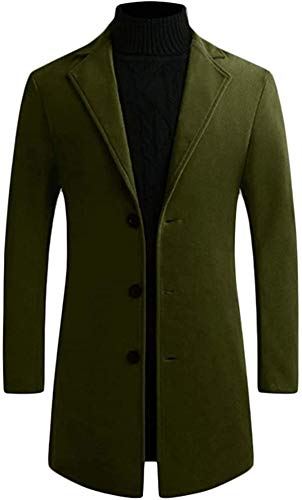Men Slim Woolen Classic Outdoor Single Breasted Long Trench Coat