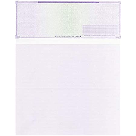 """100 Blank Check Stock - Check on Top Mazed - Paper Weight # 70""""High Security"""" Check Paper Purple Mazed"""