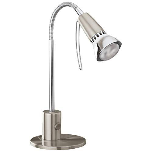 EGLO Tischlampe Fox 1, 1 flammige Tischleuchte Modern, Klassisch, Schreibtischlampe aus Stahl, Bürolampe in Nickel-Matt, Chrom, E14 Fassung