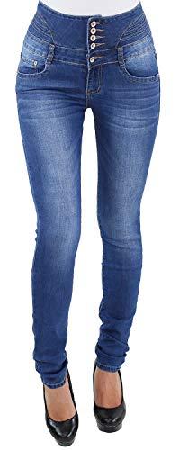 Damen Röhren Skinny Stretch Hochbund Jeans Hose Corsage High Waist Hochschnitt Corsagenjeans Y1721 S/36