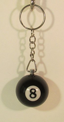 1 Inch Number 8 EIGHT Mini Billiard Snooker POOL BALL Key Chain Ring Keychain NEW by BOSSmart