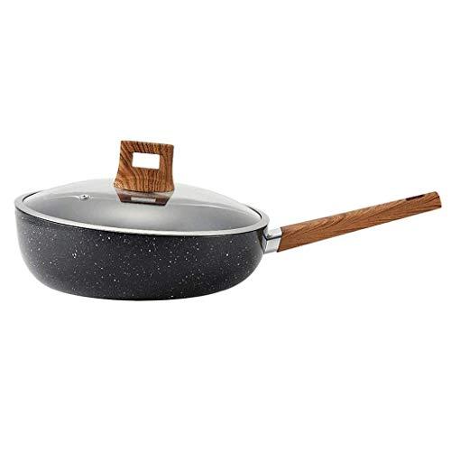 LAMZH Cacerola de freír sin palmado Pan Pan SART Pan Wok Mejor Tortilla Sartén con Mango de Toque Suave Envíe la Esponja