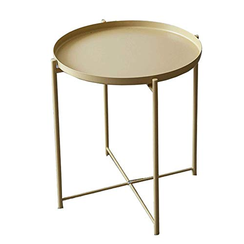 Home Equipment Side Table Accent Coffee Table Tray Metal End Table Sofa Table Small Round Side Tables Anti-Rust And Waterproof Outdoor And Indoor Snack Table Hallway Furniture ( Color : Gold Size :