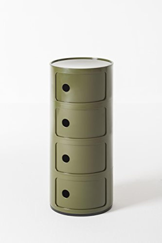 Kartell Componibili Container 4tlg, Plastik, Grn, 32 x 32 x 77 cm