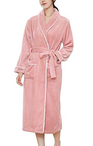 バスローブ レディース ガウン フランネル 厚手 部屋着 お風呂上がりルームウェア ボディタオル パジャマ ふわふわ 吸水 暖か 保温 保湿 腰ベルト付き カップルバスローブ 3色 M L XL (ピンク, XL)