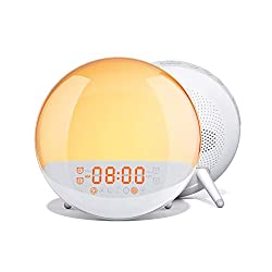 AUKEY Wake Up Light Sunrise Simulation Alarm Clock with Sleep Aid, FM Radio, 7 Nature Sounds, 7 Colors, 20 Brightness Levels, and 16 Volume Levels, Night Light for Bedroom