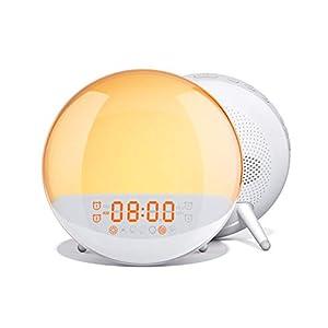 AUKEY Wake Up Light Sunrise Simulation Alarm Clock with Sleep Aid, FM Radio, 7 Nature Sounds, 7 Colors, 20 Brightness Levels, and 16 Volume Levels, Night Light for Bedroom