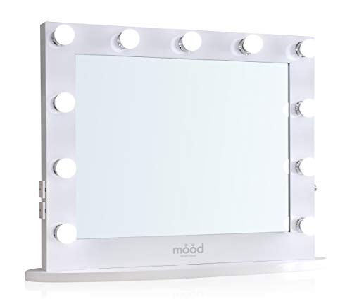 Hollywood Vanity Mirror with 2 Plug Sockets & 2 USB Ports LED Dimmer Light Bulbs, for Dressing table or Wall Mounted Table Top for Makeup White Beverley HW02 65(H) x80(W) x6.5(D) cm