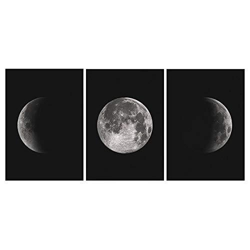 LTXMZ Schwarz Weiß Mond Leinwand Bild Nordic Wand Bilder Bild Mondphasen Kunstdrucke Poster Moderne GemäLde Wohnzimmer Schlafzimmer Home Wanddekoration 40x50cmx3 Kein Rahmen
