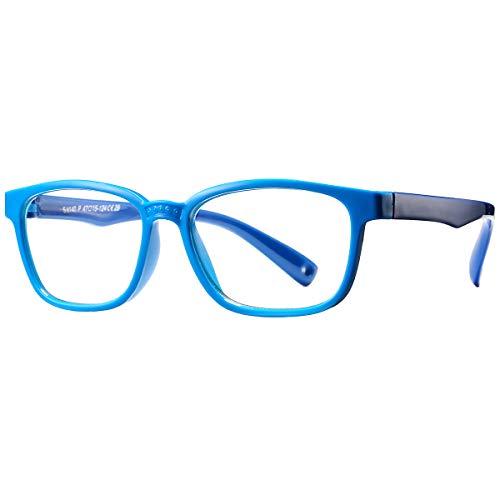 Pro Acme Blue Light Glasses for Kids Boys Girls Clear Computer Gaming TV Glasses Unbreakable Frame (Baby Blue)
