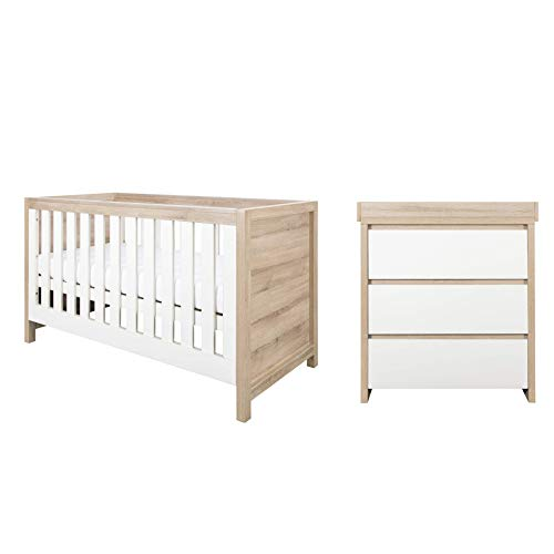 Tutti Bambini Modena Nursery Furniture Set (2 Piece)   Convertible Baby Cot Bed and Chest of Drawers Changer   Solid Wood Furniture (Oak & White)
