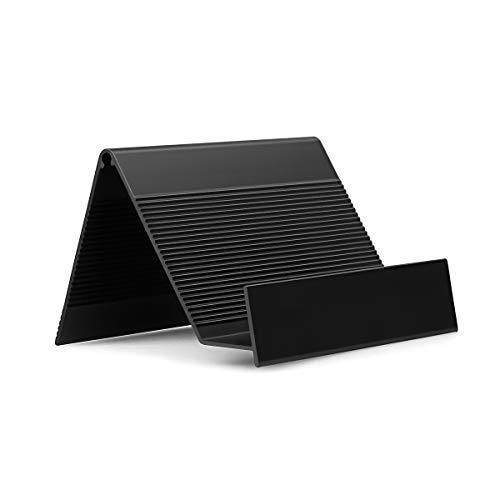 Business Card Holder Aluminum Business Card Display Stand Desktop Organizer, High-end New Series (Black) 2 Pack