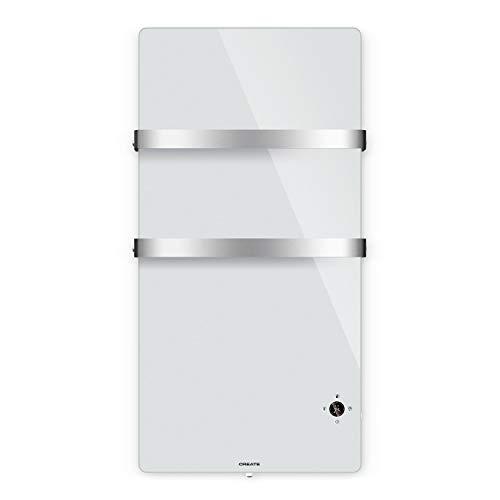 CREATE IKOHS Warm Towel Cristal - Toallero Electrico de Cristal con WiFi, 600W, Mando a Distancia, Doble Colgador, Pantalla LED, Temporizador Semanal y 24h, Conectividad App, Protección IP34 (Blanco)