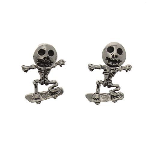Zac's Alter Ego Alternative Jewellery Crazy Skeleton on Skateboard Stud Earrings