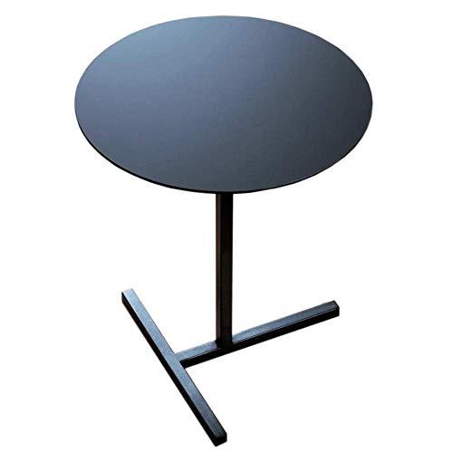 TFJJSQA Mesa de centro especial y simple, mesas laterales de metal, diseño de base en T, mesa auxiliar de sofá/mesita de noche, mesa de café pequeña color negro, tamaño: 15,7415,7421,65 cm