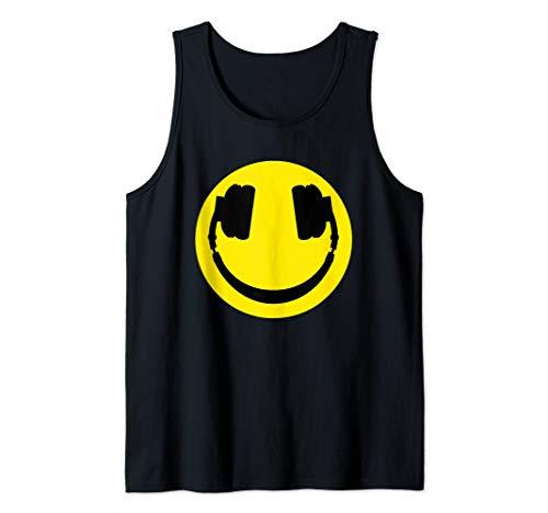 emoji headphones funny Smiley face DJ smiley headphone DJ Tank Top