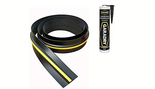 Weather Stop 15 mm (Höhe) Bodenabdichtung für Garagentore | 6,17 m | PVC schwarz/gelb | Kleber im Kit enthalten