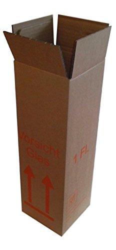 Flaschen Versandkarton 1er - DHL Zulassung - Weinversand - für 0,75l Bordeaux/Burgunder/Schlegel/Sekt und 1,0l Schlegel - zusammengebaut, Boden verklebt