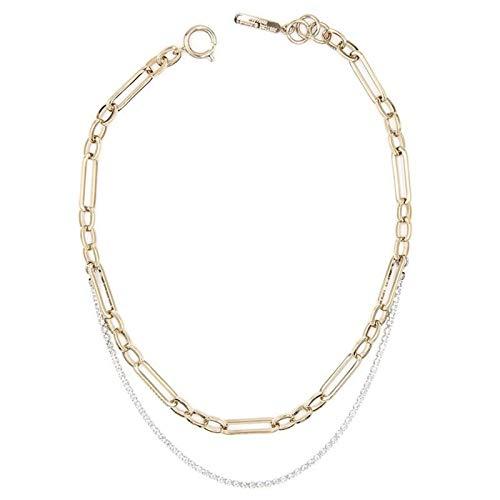 Colgante de plata 925 Moda Cadena de tenis de diamantes de imitación de rhinestone de doble capa 24k Collar de cadena chapado en oro de las mujeres Collar de gargantilla de oro minimalista de las muje