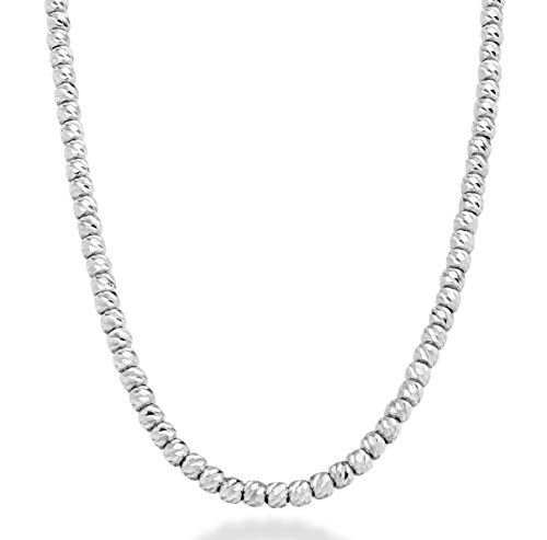 Miabella 925 Sterling Silver Italian Handmade 2.5mm Diamond-Cut Bead Ball Adjustable Chain Necklace for Women Teen Girls 14-16, 16-18 and 18-20 Inch, Made in Italy (18 to 20 inches)