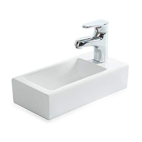 STILFORM Gäste WC Waschbecken aus feinster Keramik in Brillant Weiß für Wandmontage oder als Aufsatzwaschbecken mit Hahnloch 370 x 185 x 90 mm (Hahnloch Rechts)