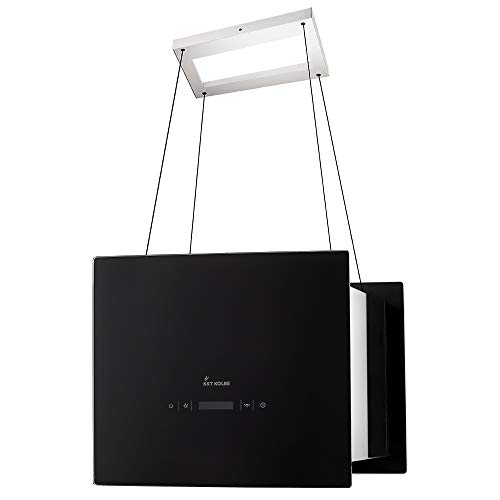 KKT KOLBE Design-Dunstabzugshaube/Inselhaube / 40cm / Edelstahl/schwarzes Glas/Extra-leise / 4 Stufen/LED-Beleuchtung/TouchSelect Sensortasten/Seilbefestigung / BOX400S