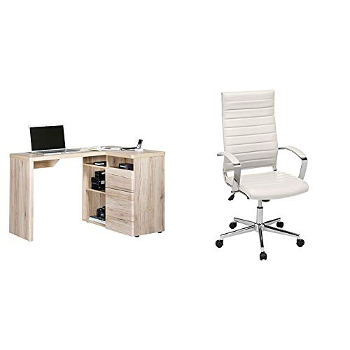 Amazon Brand -Movian Olton 1-Door 1-Drawer Corner Desk with 4-Storage Compartments, Light Brown Oak-Effect & Amazon Basics High-Back Executive Swivel Chair with Ribbed Puresoft PU - White