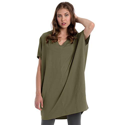 Neon Buddha Women V Neck Cotton Tunic Ladies Short Sleeve Dress Khaki Size XL