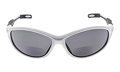 Eyekepper TR90 Frame Bifocal Sports Sunglasses Baseball Running Fishing Driving Golf Softball Hiking Sunshine Readers (Pearly Silver, 2.50)