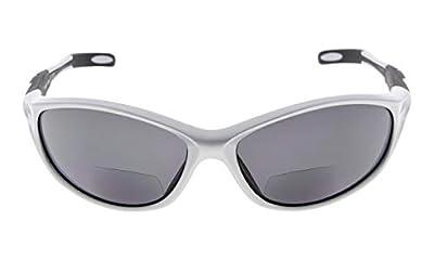 Eyekepper TR90 Frame Bifocal Sports Sunglasses Baseball Running Fishing Driving Golf Softball Hiking Sunshine Readers (Pearly Silver, 2.50)