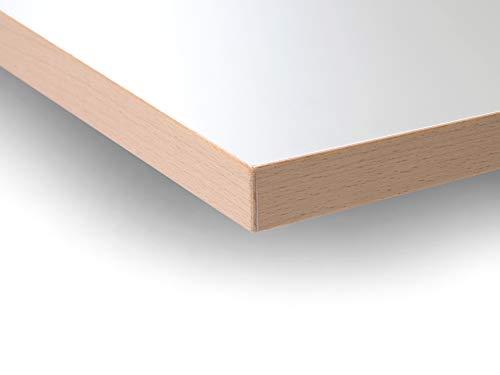Modulor Holz Tischplatte in 2,5 x 68 x 120 cm aus Spanplatte, Platte für Kinderschreibtisch E2, mit Buche-Umleimer und Laminatbeschichtung, weiß seidenmatt