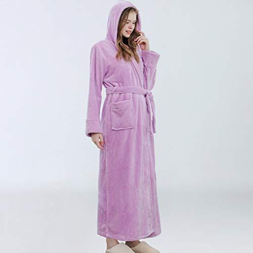 LXDWJ Flannel Albornoz vestido de noche con capucha con capucha con capucha extra larga túnica gruesa tibia de invierno de invierno para mujer Bata suave Bata de baño de talla grande vestido de aderez