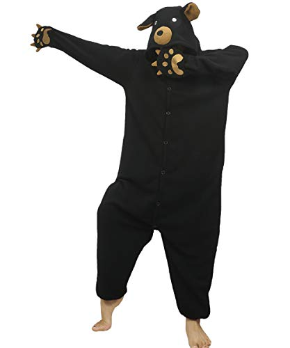 dressfan Tier Bär Kostüm Bär Jumpsuits Bär Pyjamas Cosplay Kostüm Weihnachten Halloween Schlafanzug für Unisex Erwachsene Jugendliche Kinder Schwarz L