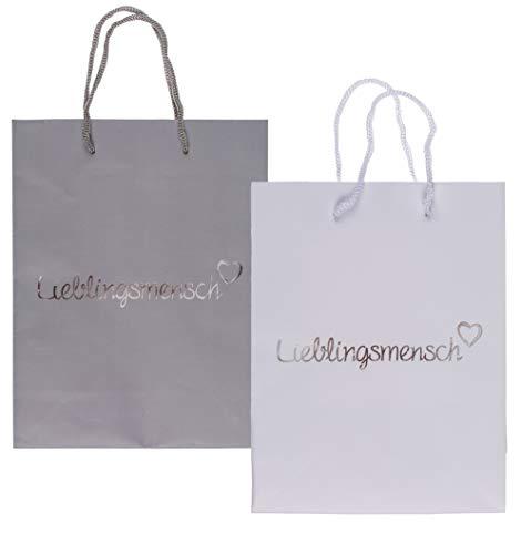 MC Trend Set van 6 papieren geschenkzakjes Lieblingsmensch cadeauverpakking verjaardag huwelijk (geschenktasje wit en grijs)