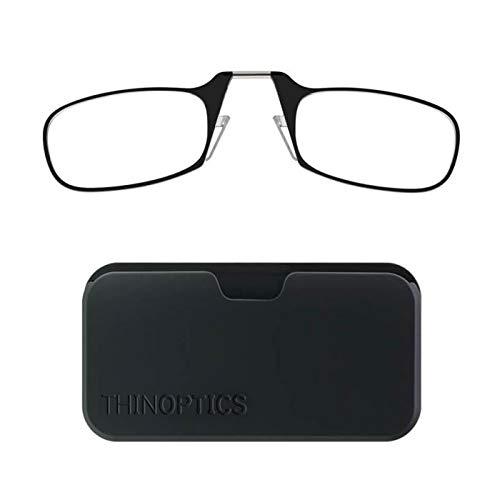ThinOPTICS Reading Glasses on your Phone, Universal Pod Black Case , +1.50 Black Glasses