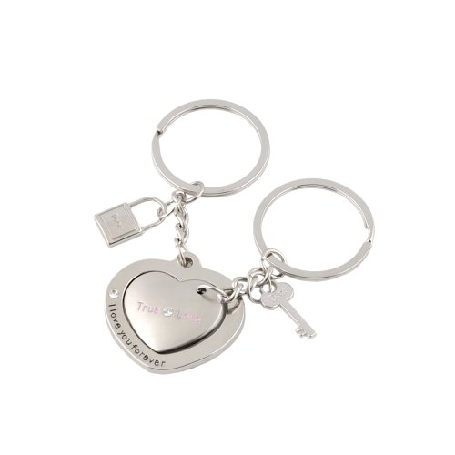 Leegoal Zinc Alloy Heart to Heart Keychain Keyring Set for Couples Lovers