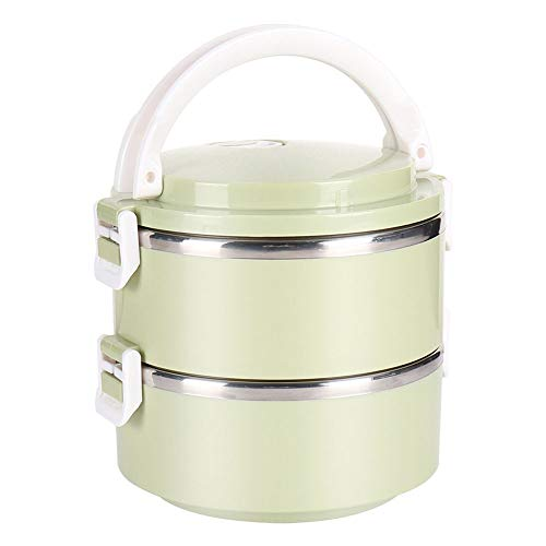FJXQCY Lunch Box Leakproof Stainless Steel Stackable, Bento Box Heat-resistant students, children, adult lunch boxes, green (Color : 2 layer)
