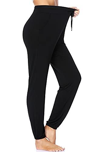 ROCHVIE Womens Yoga Sweatpants for Women Casual Comfy Drawstring Workout Joggers Pants High Waist Lounge Pants with Pockets Black XXL