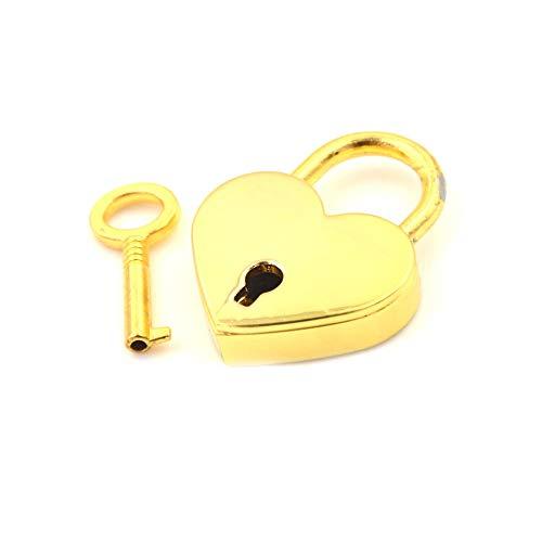 Vorhängeschlösser Mini Vorhängeschloss Liebe Herzform Vorhängeschloss Winzige Gepäcktasche Koffer Schloss Mit Schlüsseln Zink Legierung Koffer Locker-Gold