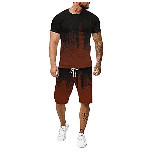 XXBR Men's Sports Outfit Sets, Summer 3D inkjet Fitness T-shirts and Shorts 2 Piece Set Tracksuit for Mens Sweatsuits Sports Suits Workout Gym Fitness Slim Fit Muscle Exercise Active Tracksuits