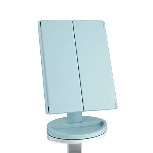 Trifold Vanity Mirror avec lumières LED, Miroir de Maquillage éclairé avec grossissements 3X et 3X - 3 lumières Naturelles Dimmable, écran Tactile, Miroir de Table réglable avec comptoir cosmétique