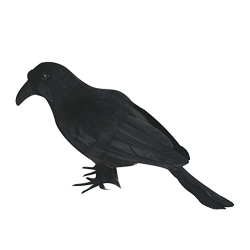 Tinksky Artificial Cuervo Pájaro Negro Raven Prop Decoración para Halloween Display Halloween Decoraciones Halloween regalo